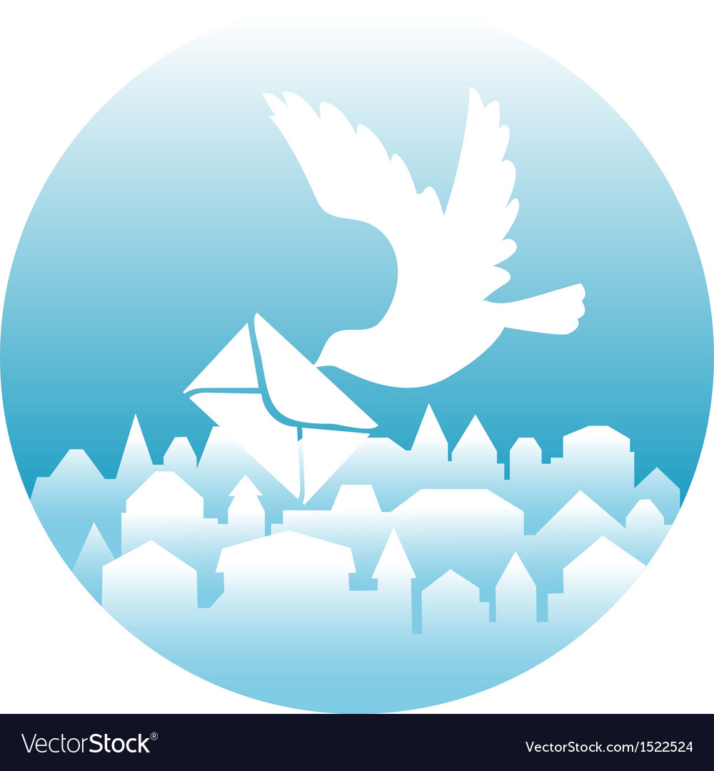 White dove with message vector | Price: 1 Credit (USD $1)