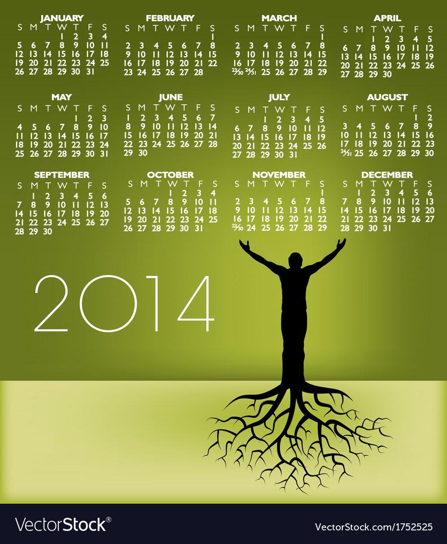 2014 tree man roots calendar vector   Price: 1 Credit (USD $1)
