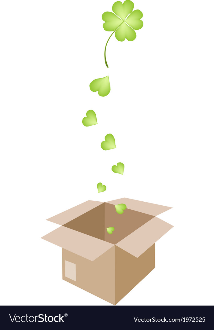 Beautiful four leaf clovers in a shipping box vector | Price: 1 Credit (USD $1)