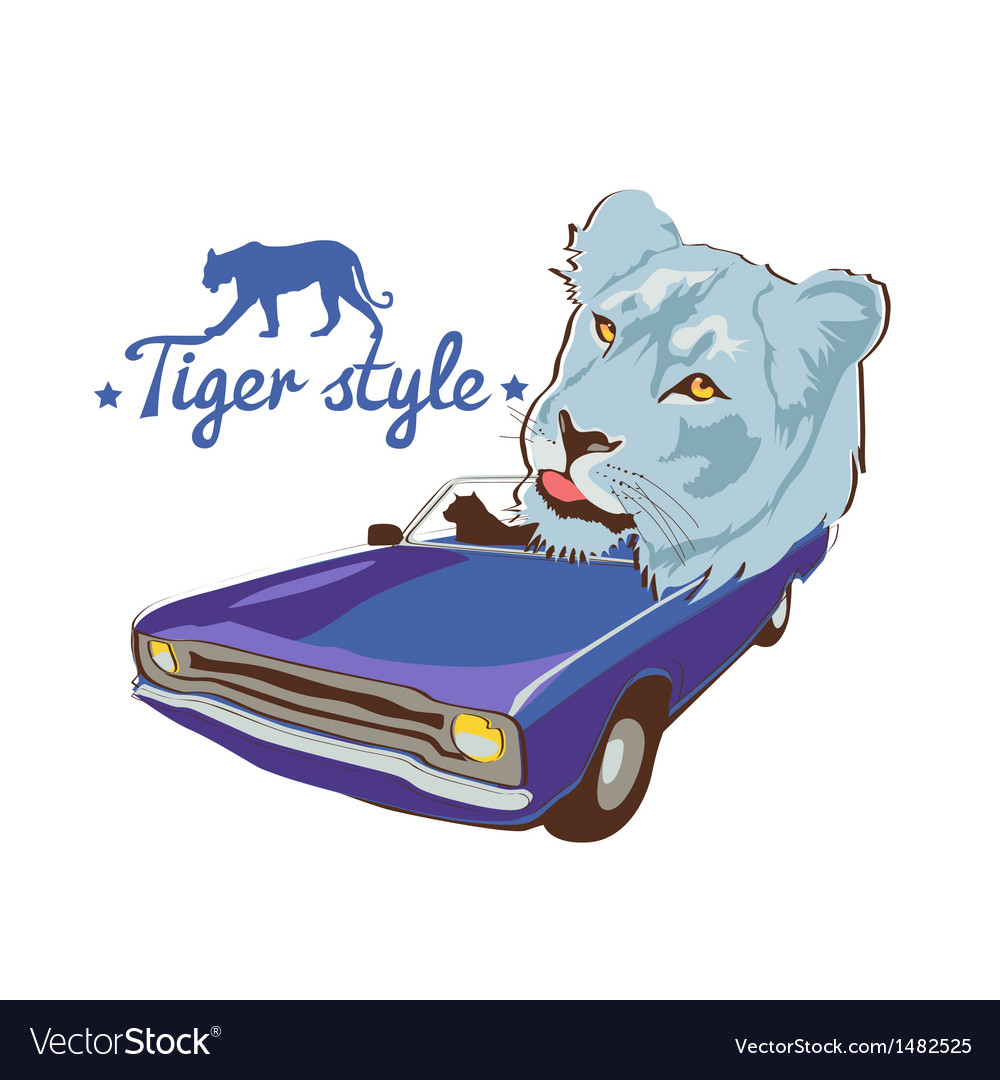 Blue tiger violet car driver vector | Price: 3 Credit (USD $3)