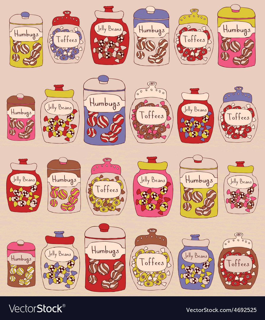 Candies in glass jars vector | Price: 1 Credit (USD $1)