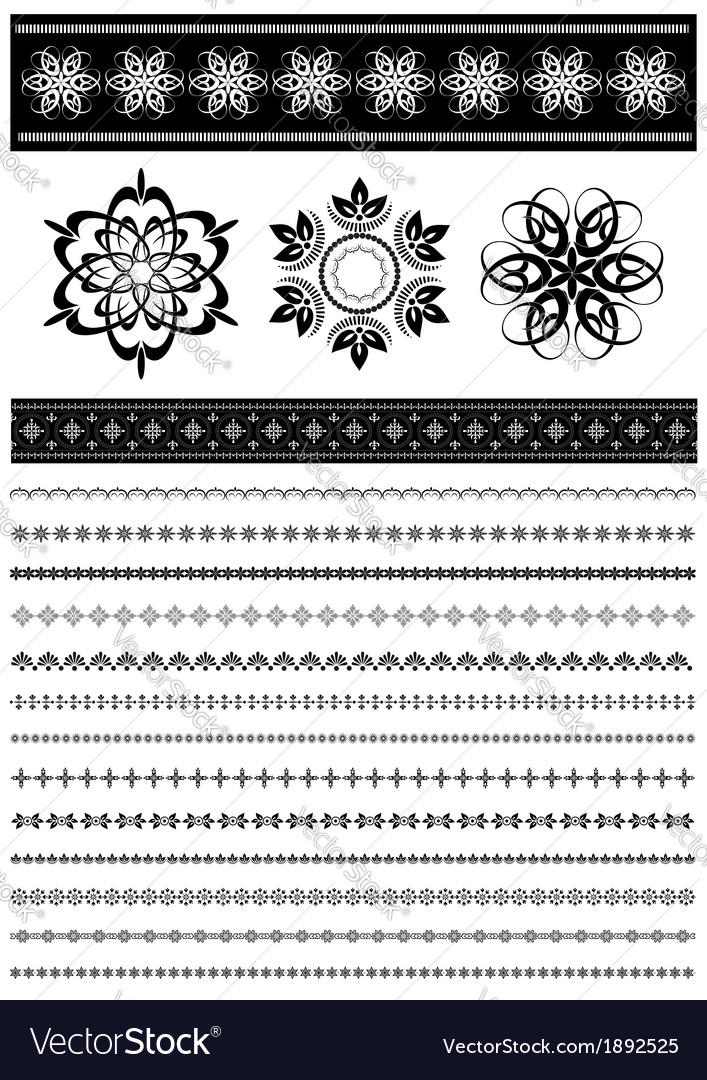 Collection patterned border vector | Price: 1 Credit (USD $1)