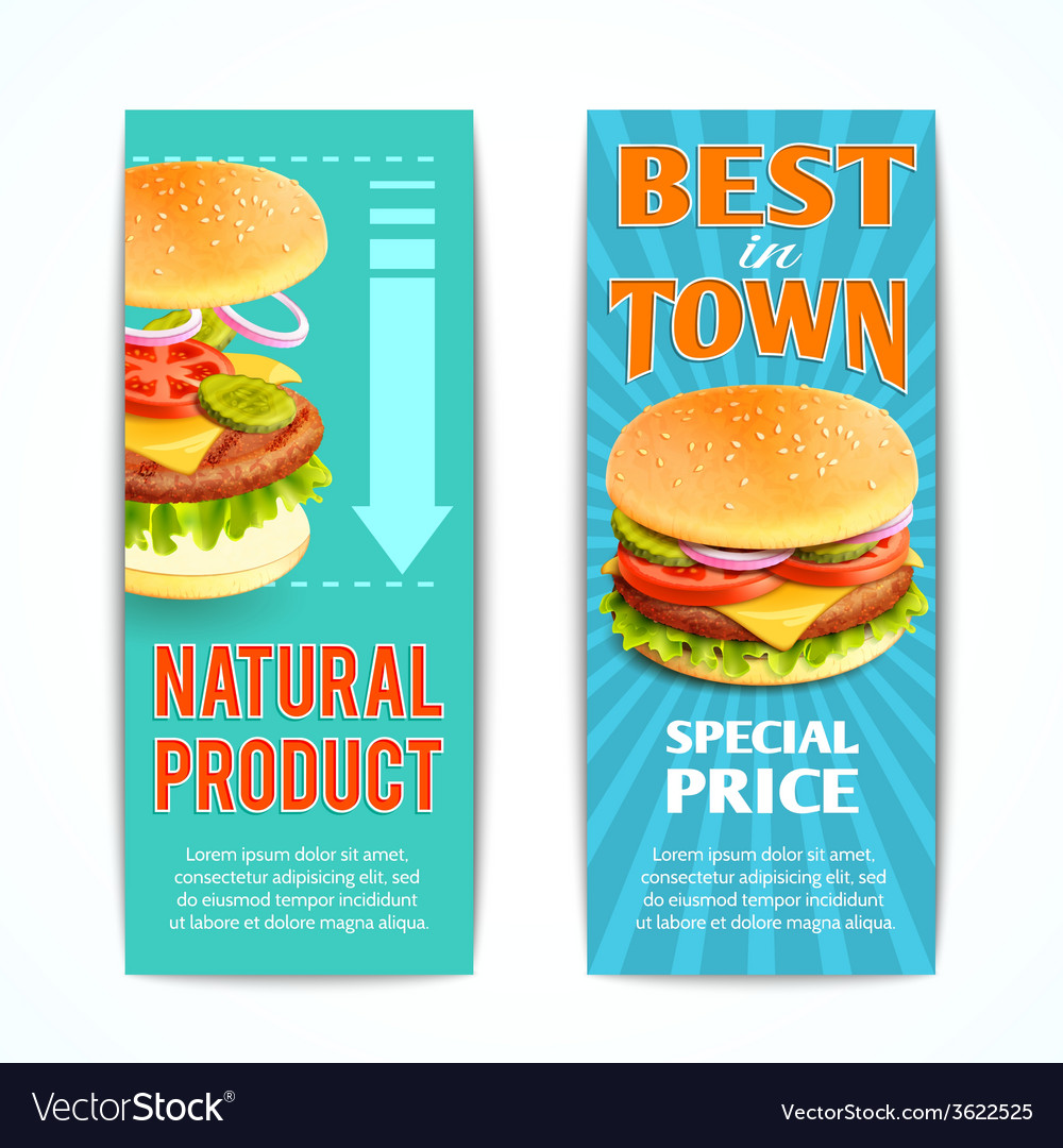 Fast food banners set vector | Price: 1 Credit (USD $1)