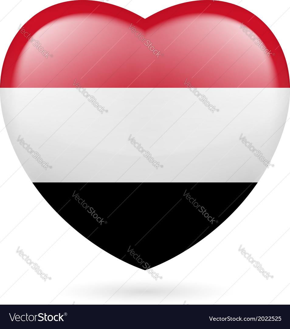 Heart icon of yemen vector | Price: 1 Credit (USD $1)