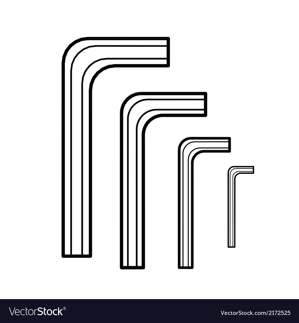 Hex wrench outline vector | Price: 1 Credit (USD $1)
