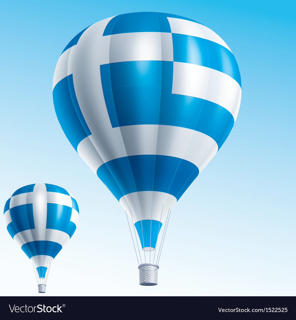 Hot balloons painted as greece flag vector | Price: 3 Credit (USD $3)