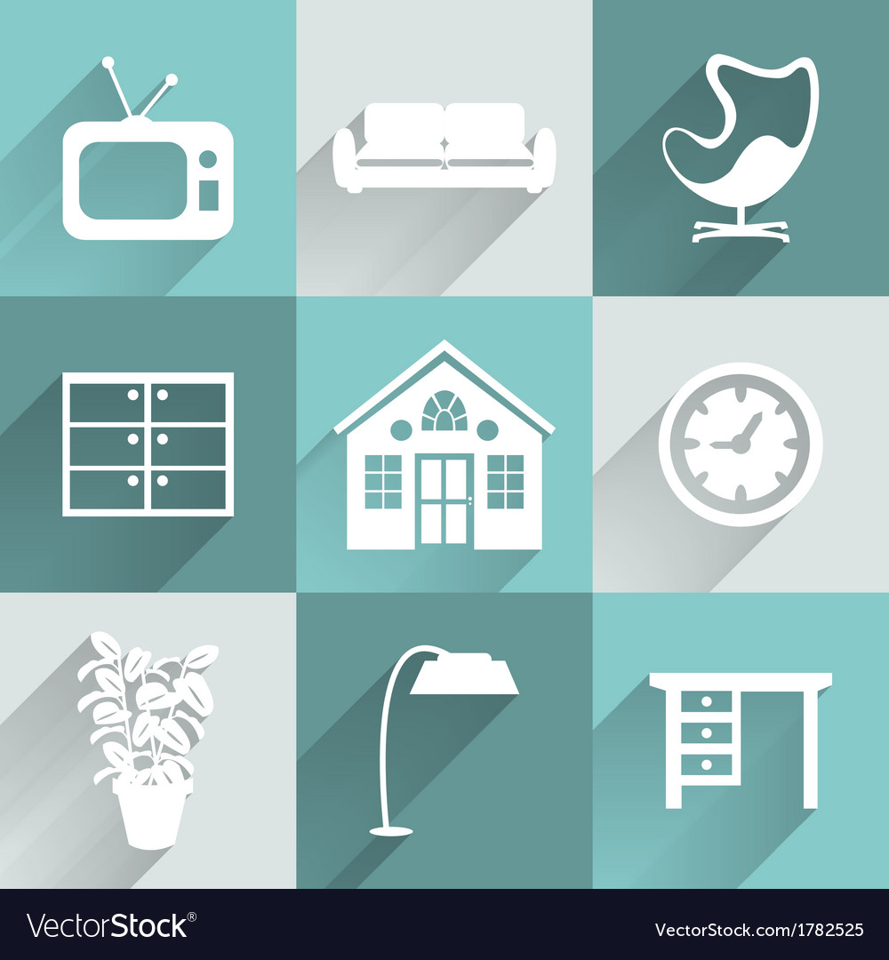 Interior furniture icons set vector | Price: 1 Credit (USD $1)