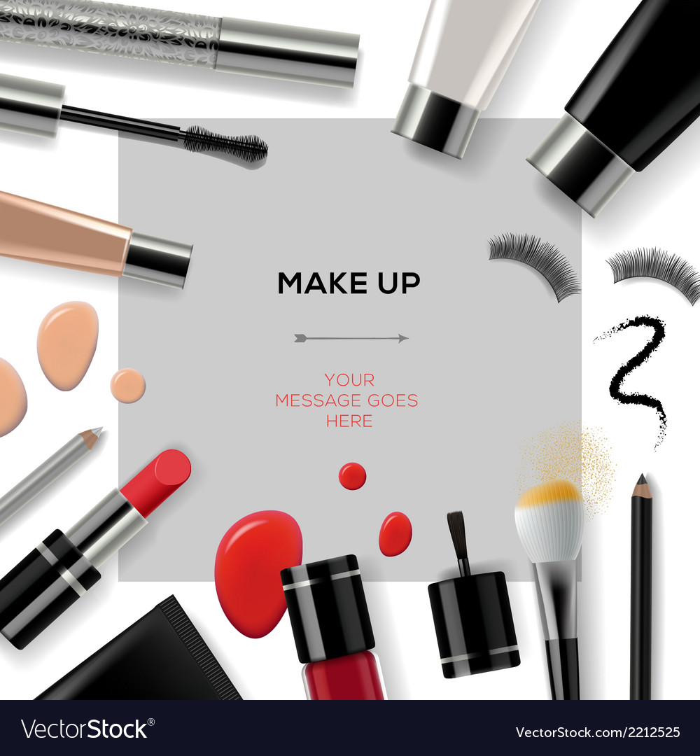 Makeup template with collection of make up vector | Price: 1 Credit (USD $1)