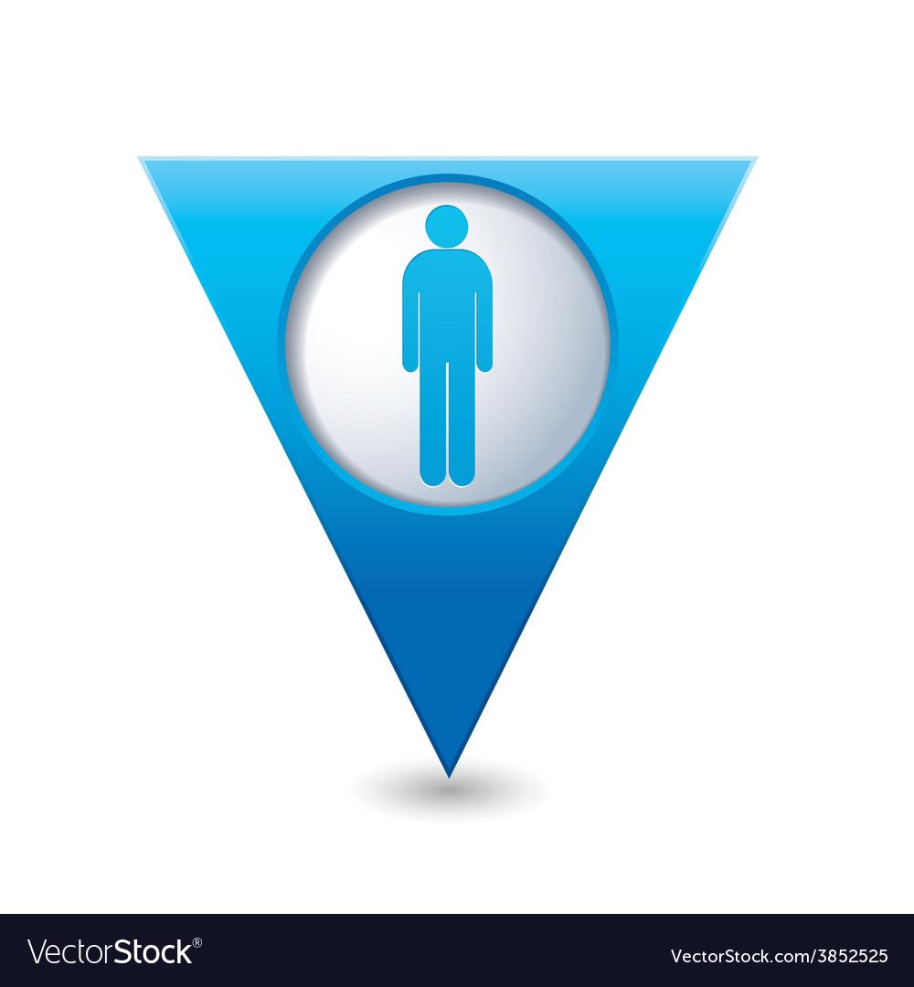 Man blue triangular map pointer vector | Price: 1 Credit (USD $1)