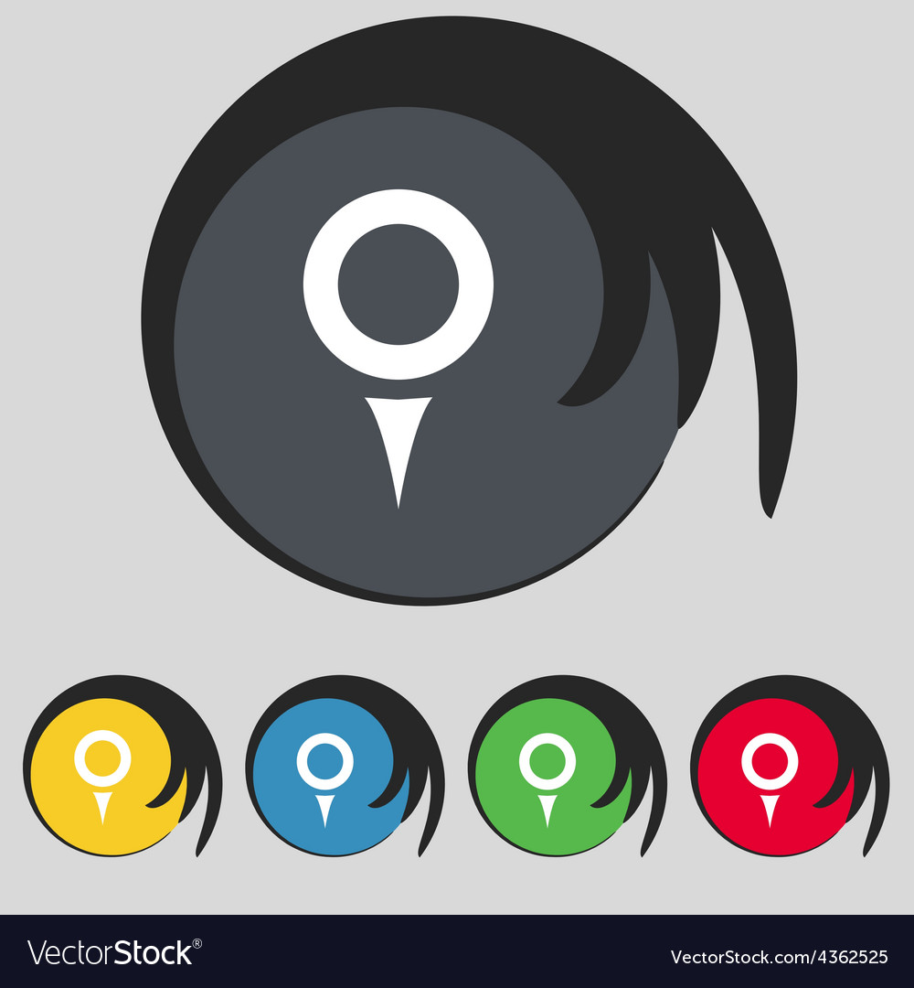 Map pointer gps location icon sign symbol on five vector   Price: 1 Credit (USD $1)