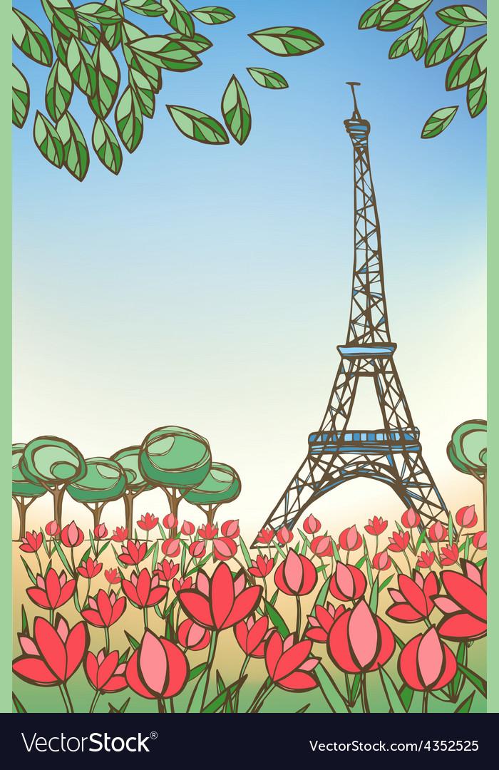 Paris card eiffel tower vector