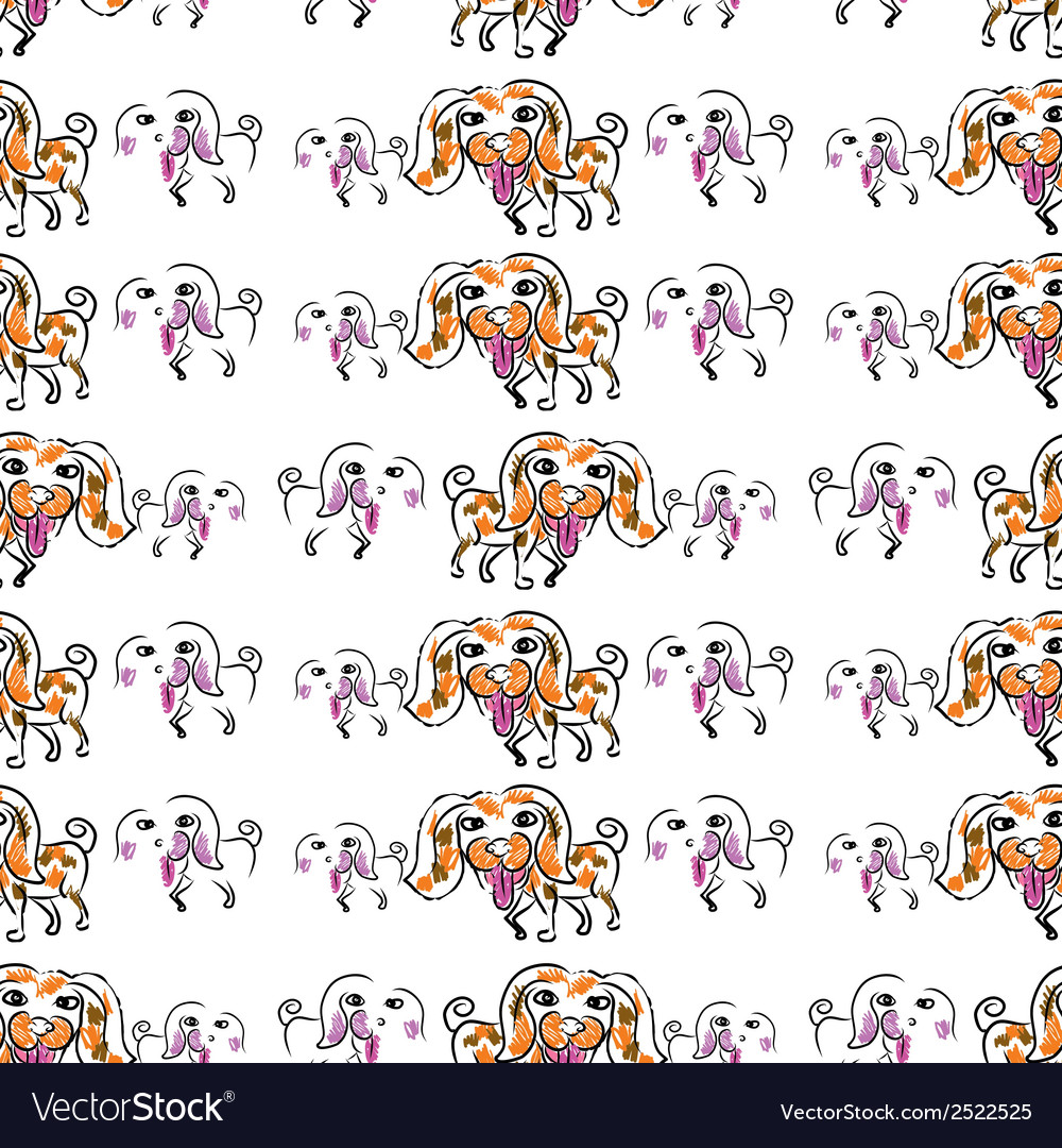Seemless pattern of doodle dog vector | Price: 1 Credit (USD $1)