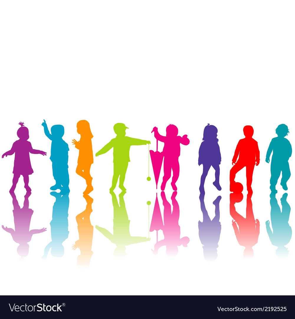 Set of colored children silhouettes vector | Price: 1 Credit (USD $1)