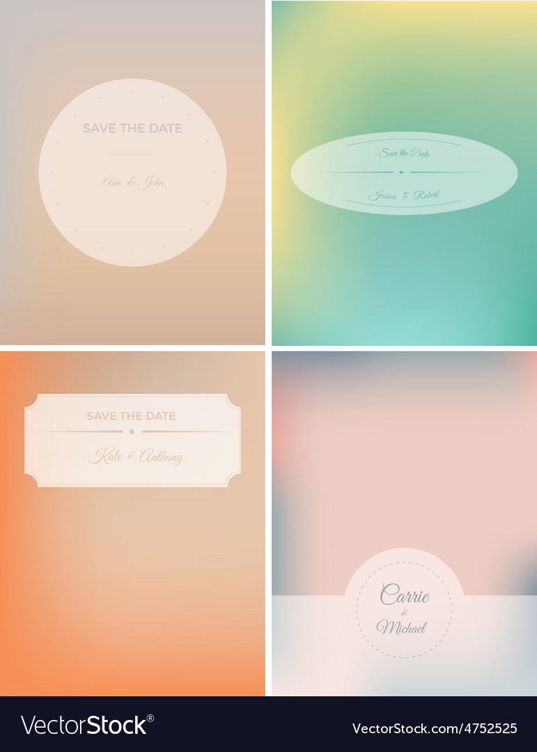 Set of retro invitation card on blurred background vector | Price: 1 Credit (USD $1)