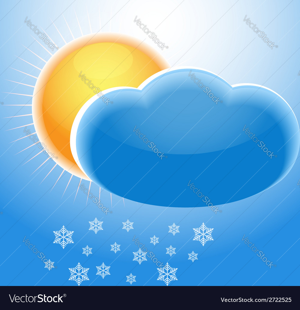 Sun cloud and snowflakes vector | Price: 1 Credit (USD $1)