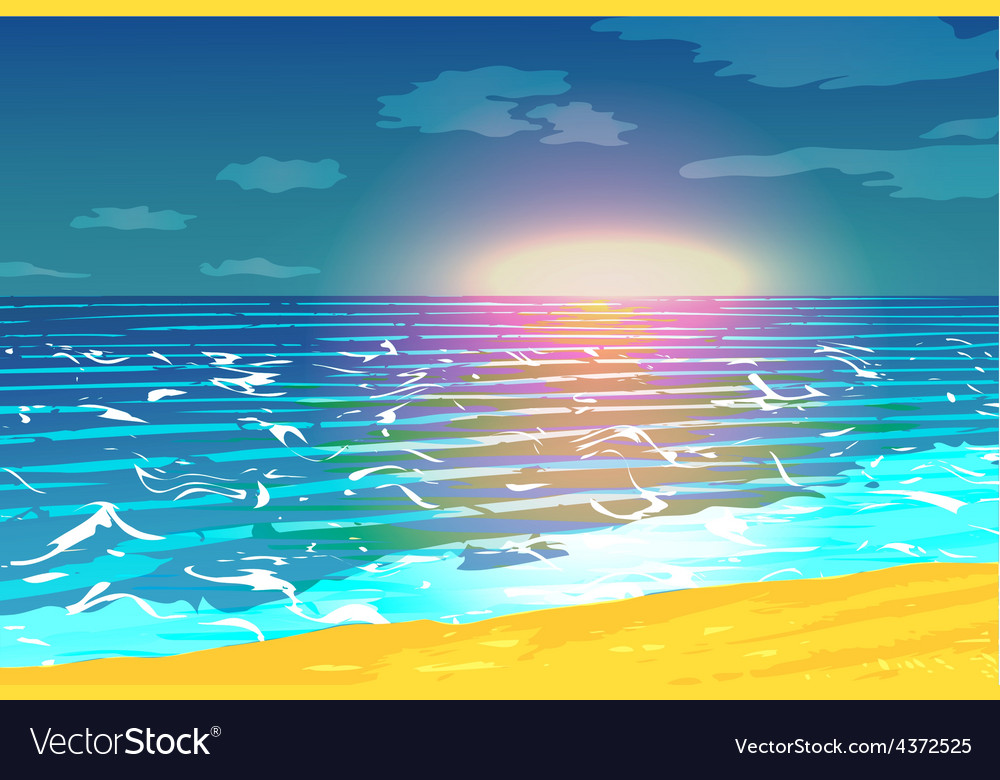 Sunset over the ocean vector | Price: 1 Credit (USD $1)