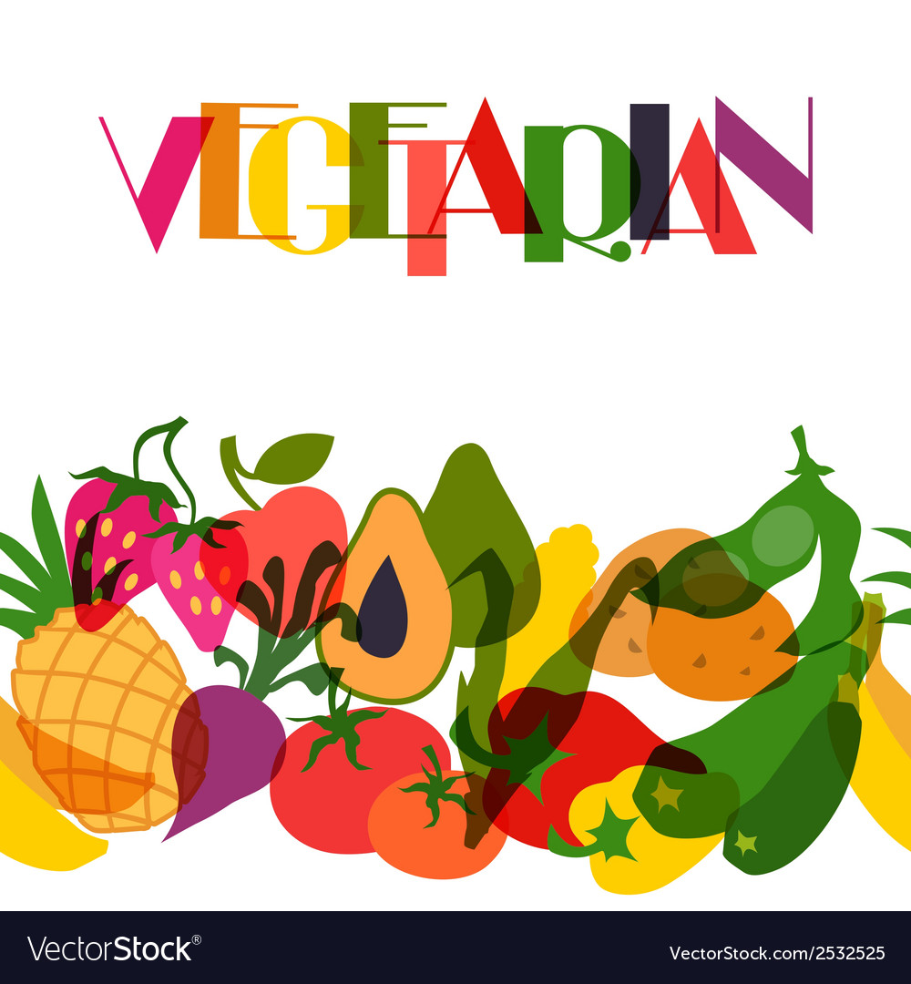 Vegetarian food background design with stylized vector | Price: 1 Credit (USD $1)