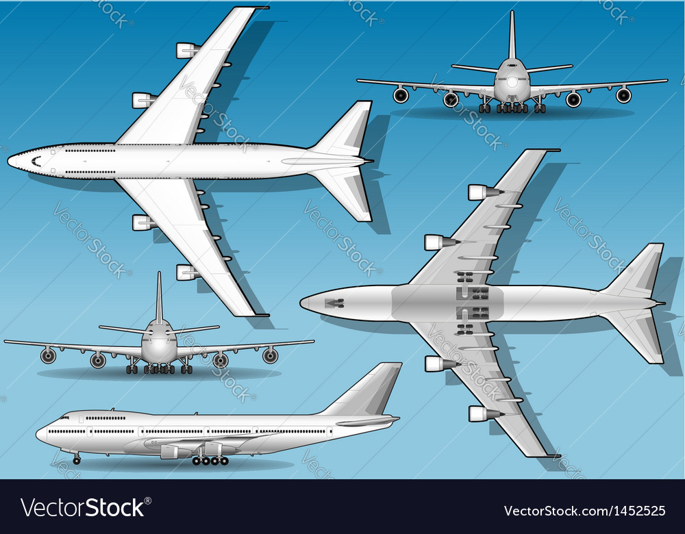 White plane in five positions vector | Price: 1 Credit (USD $1)