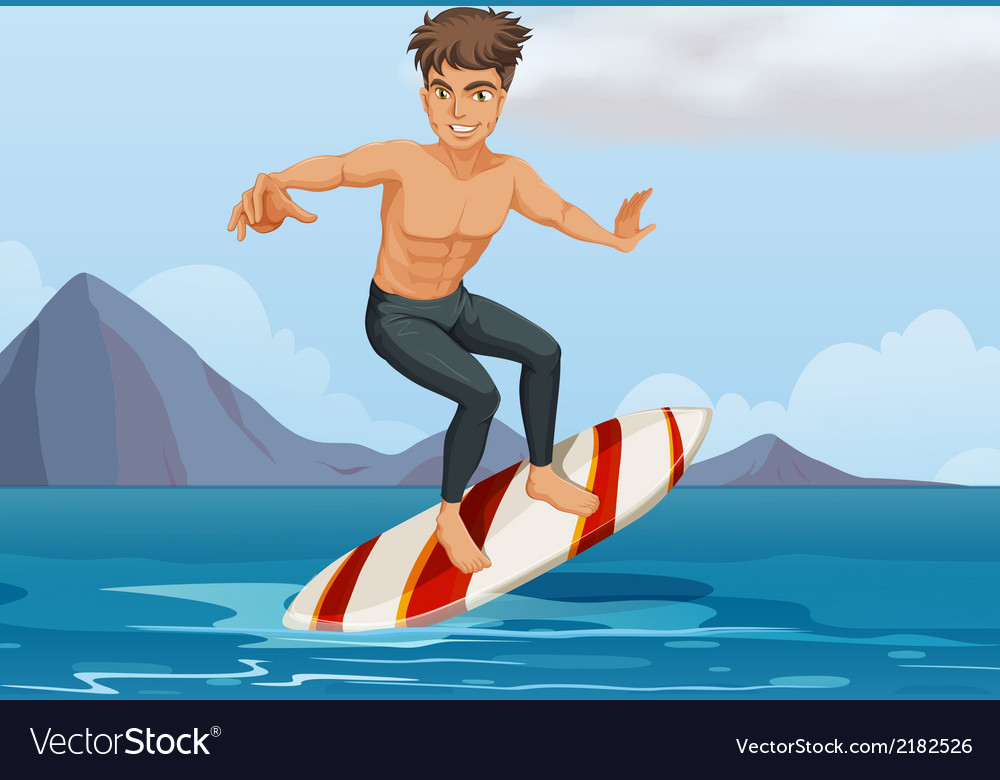 A boy surfing at the beach vector   Price: 1 Credit (USD $1)