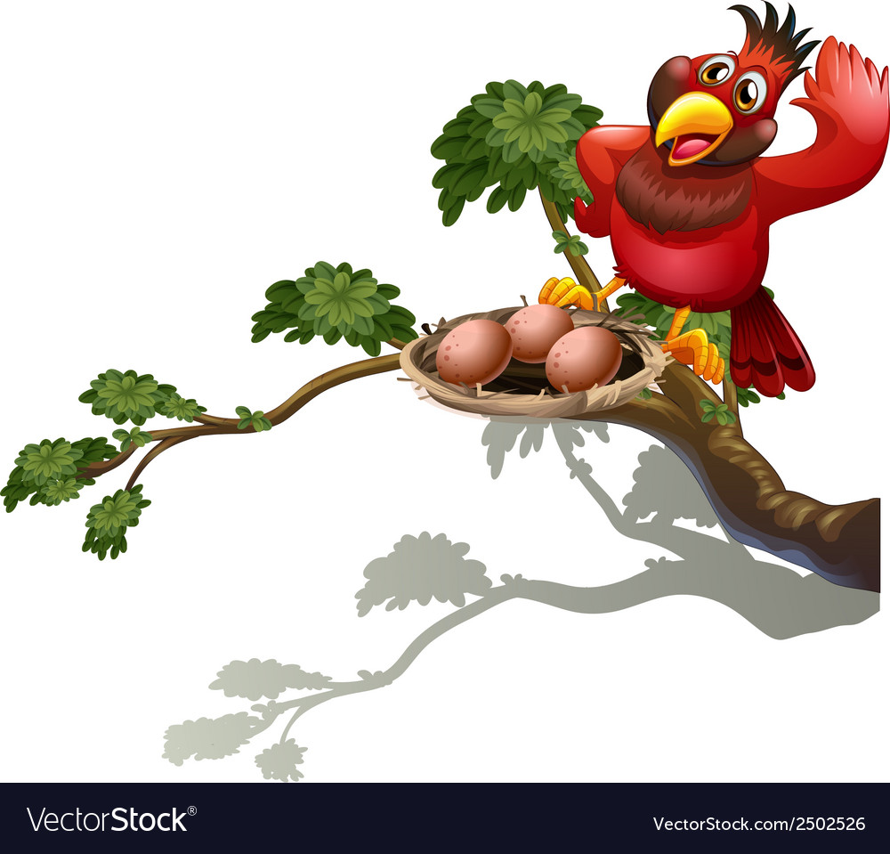 A red bird watching the nest vector | Price: 1 Credit (USD $1)