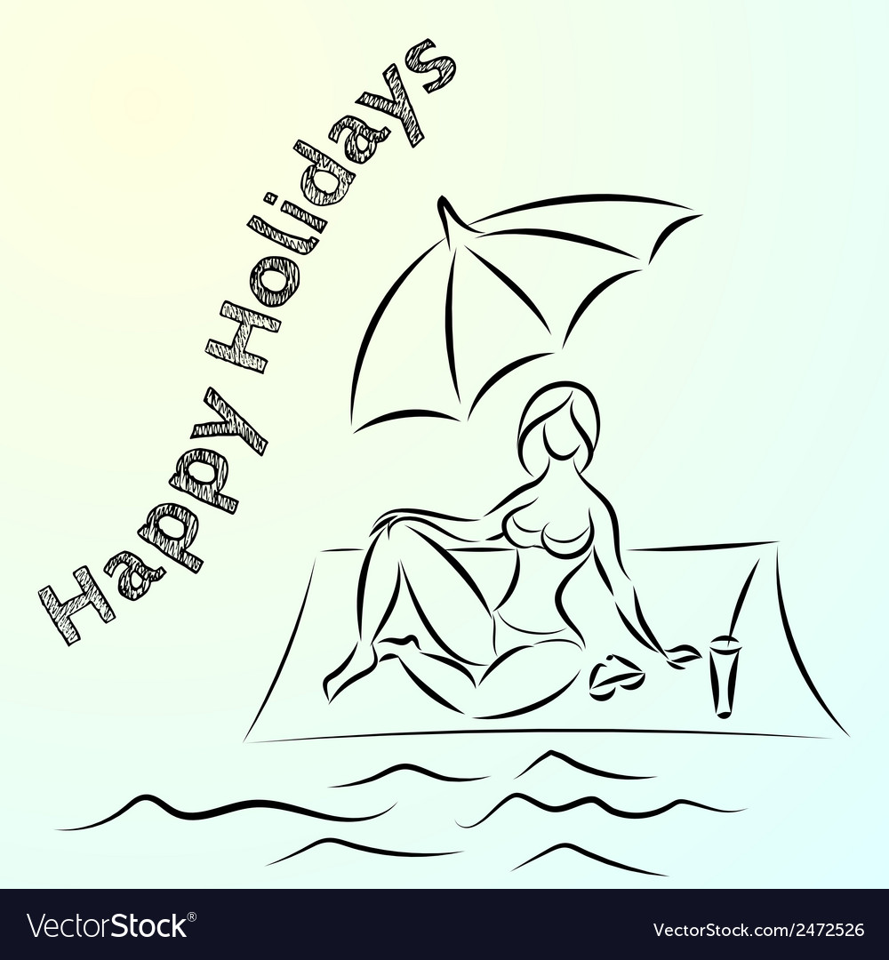Abstract sketch of summer beach holiday vector | Price: 1 Credit (USD $1)