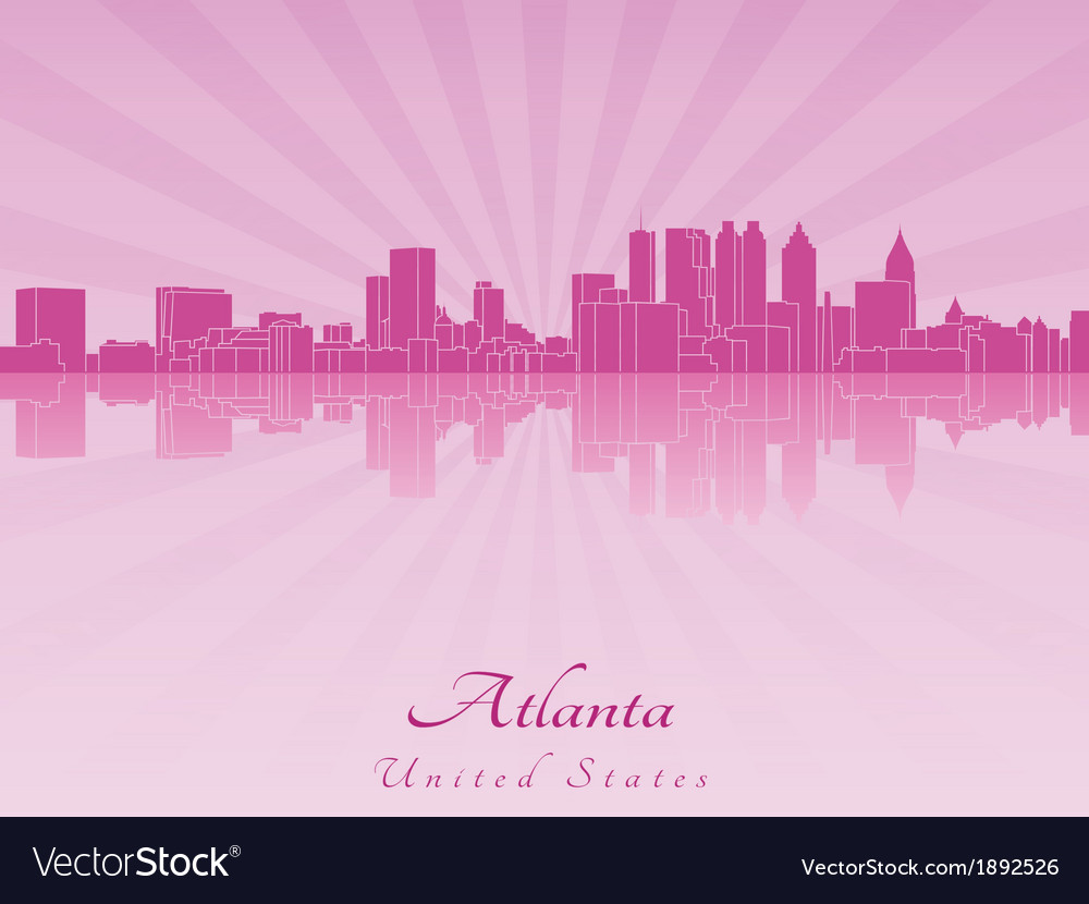 Atlanta skyline in purple radiant orchid vector | Price: 1 Credit (USD $1)