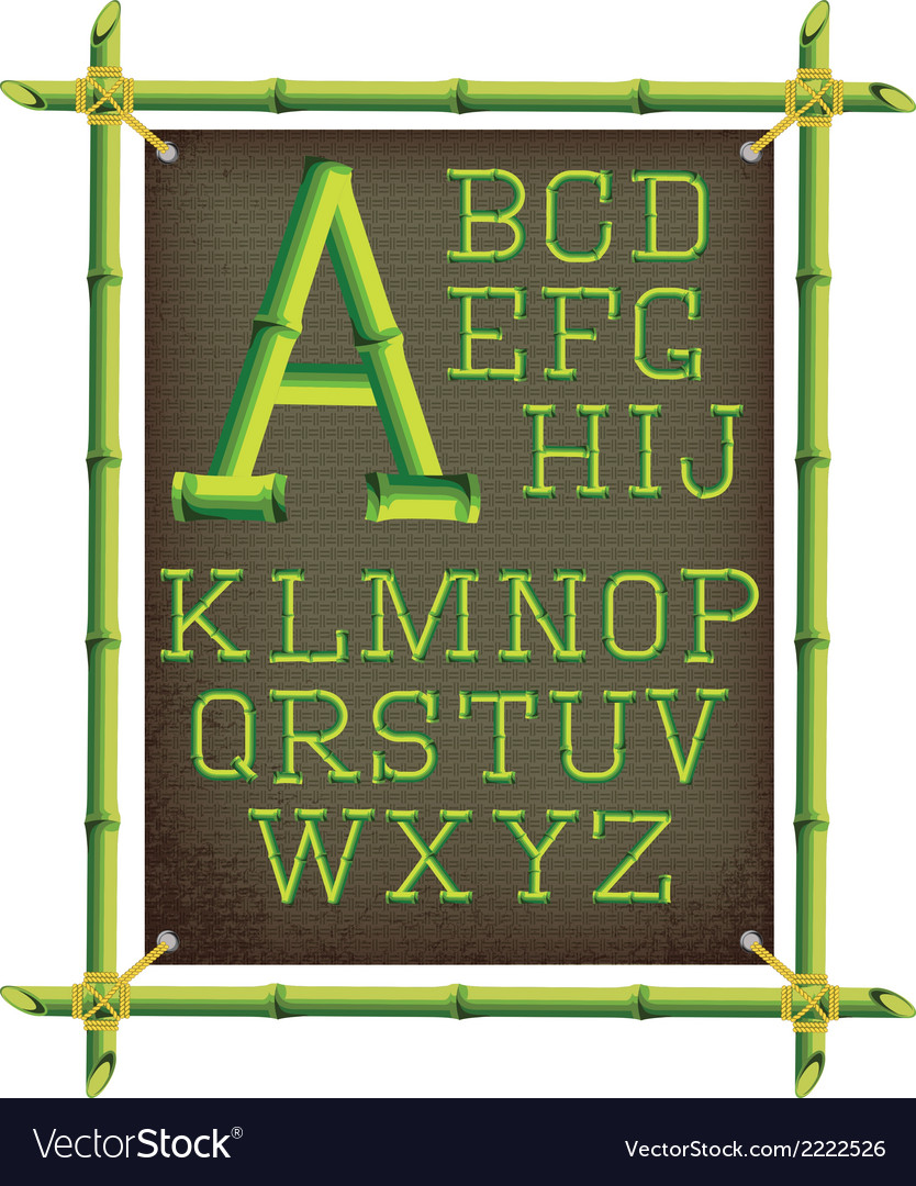 Bamboo frame with canvas and stylized alphabet vector | Price: 1 Credit (USD $1)