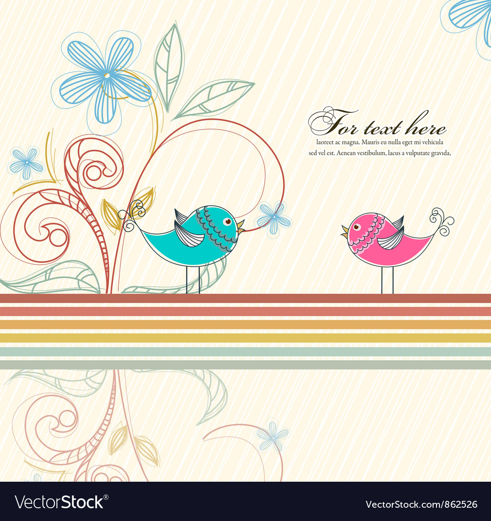 Birds with floral vector | Price: 1 Credit (USD $1)