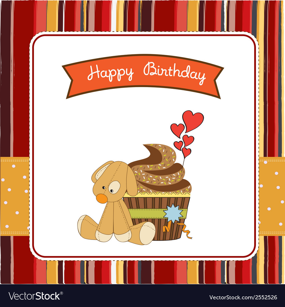 Birthday greeting card with cupcake and puppy toy vector | Price: 1 Credit (USD $1)