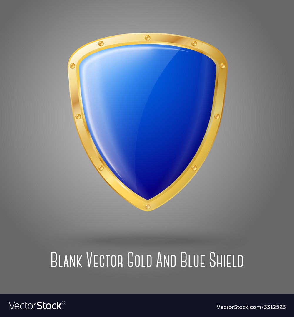 Blank blue realistic glossy shield with golden vector | Price: 1 Credit (USD $1)