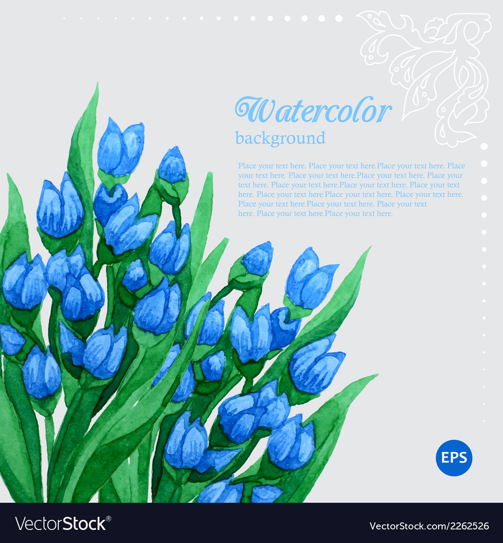 Blue tulip floral watercolor frame vector | Price: 1 Credit (USD $1)