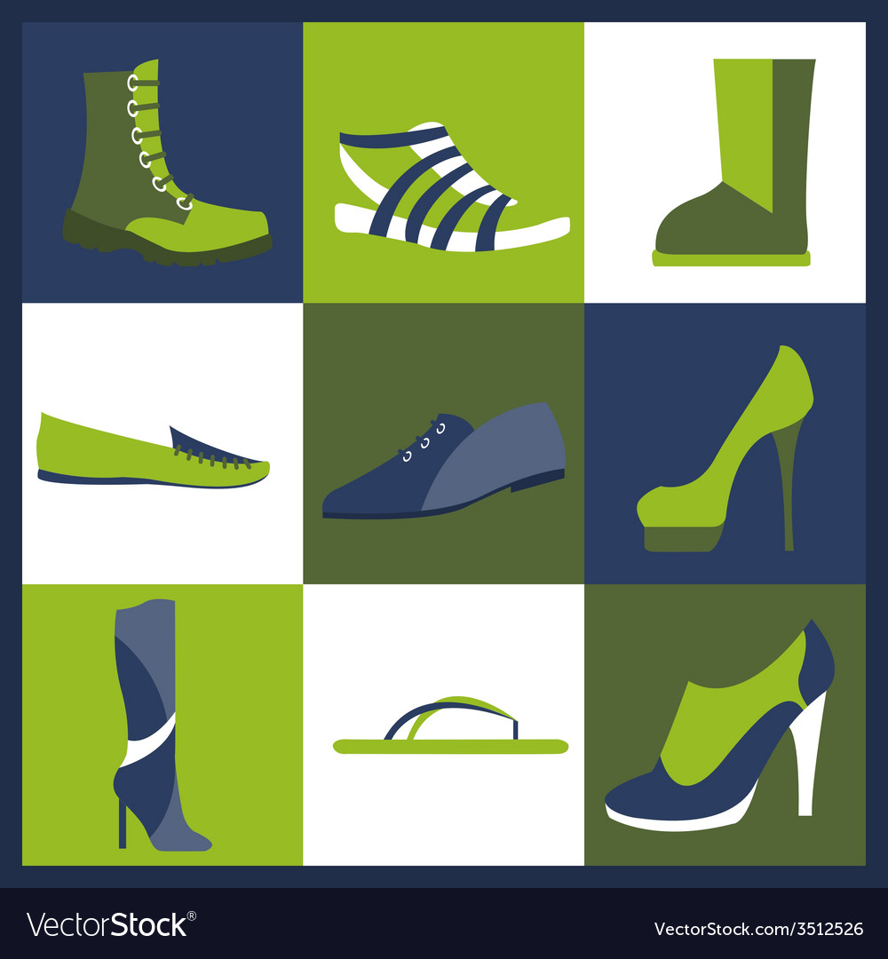 Footwear elements icons set easily edited vector | Price: 1 Credit (USD $1)