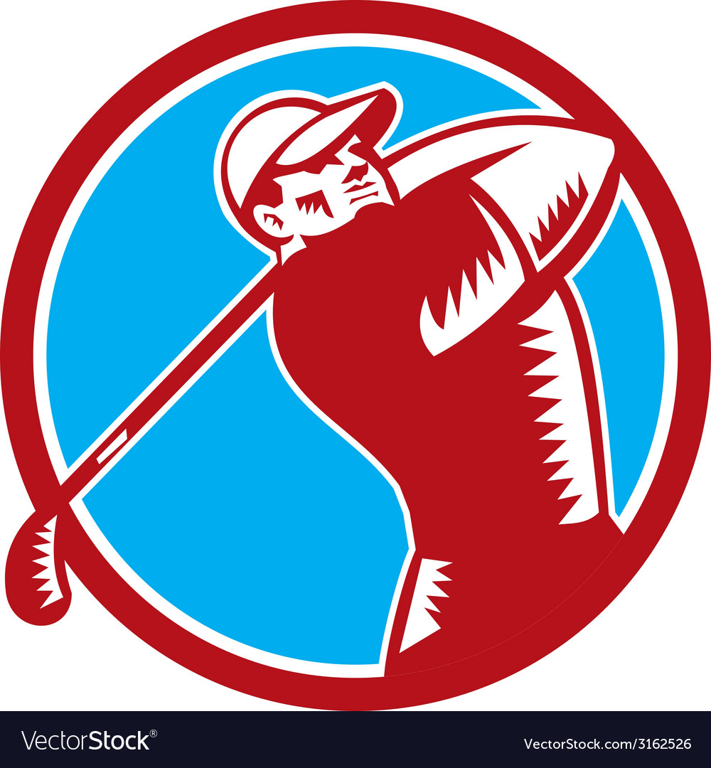 Golfer tee off golf circle woodcut vector | Price: 1 Credit (USD $1)