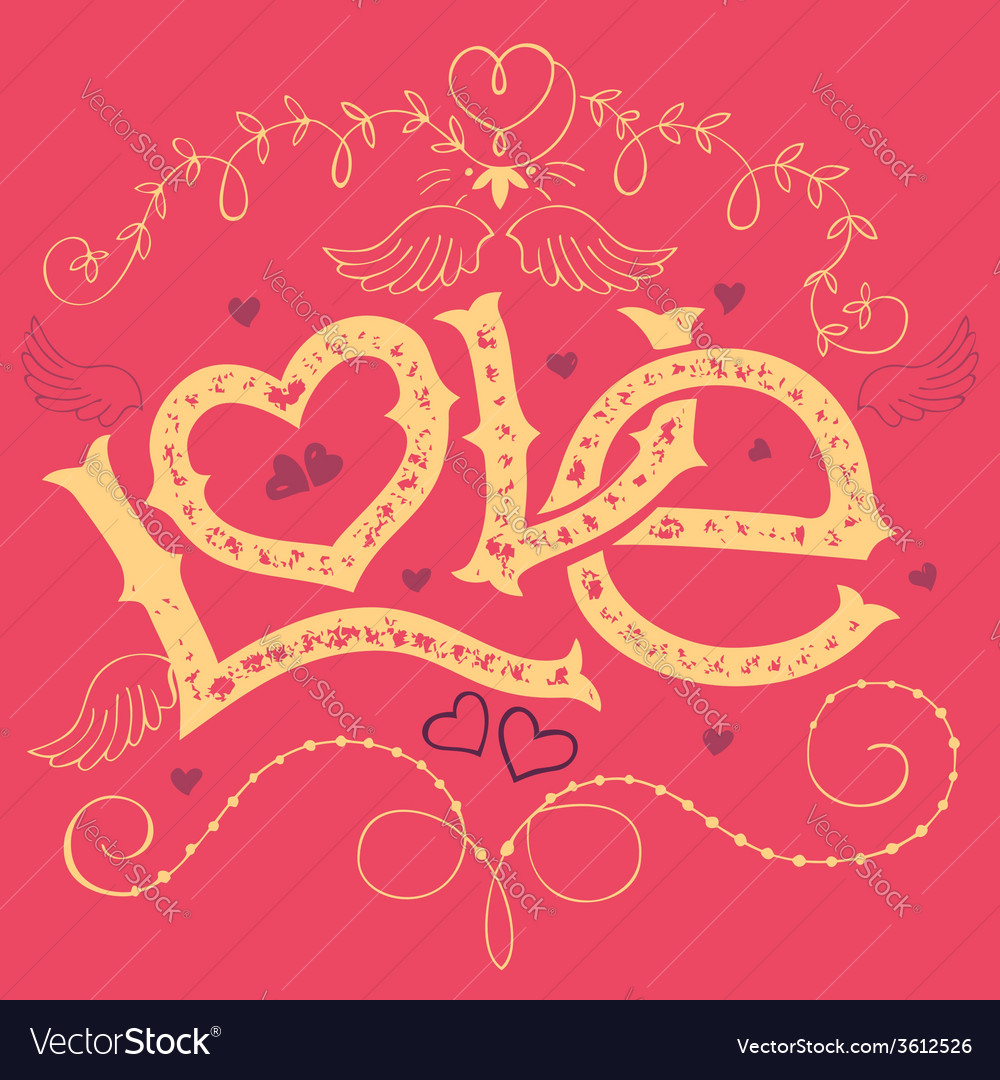 Love handlettering valentines day card vector