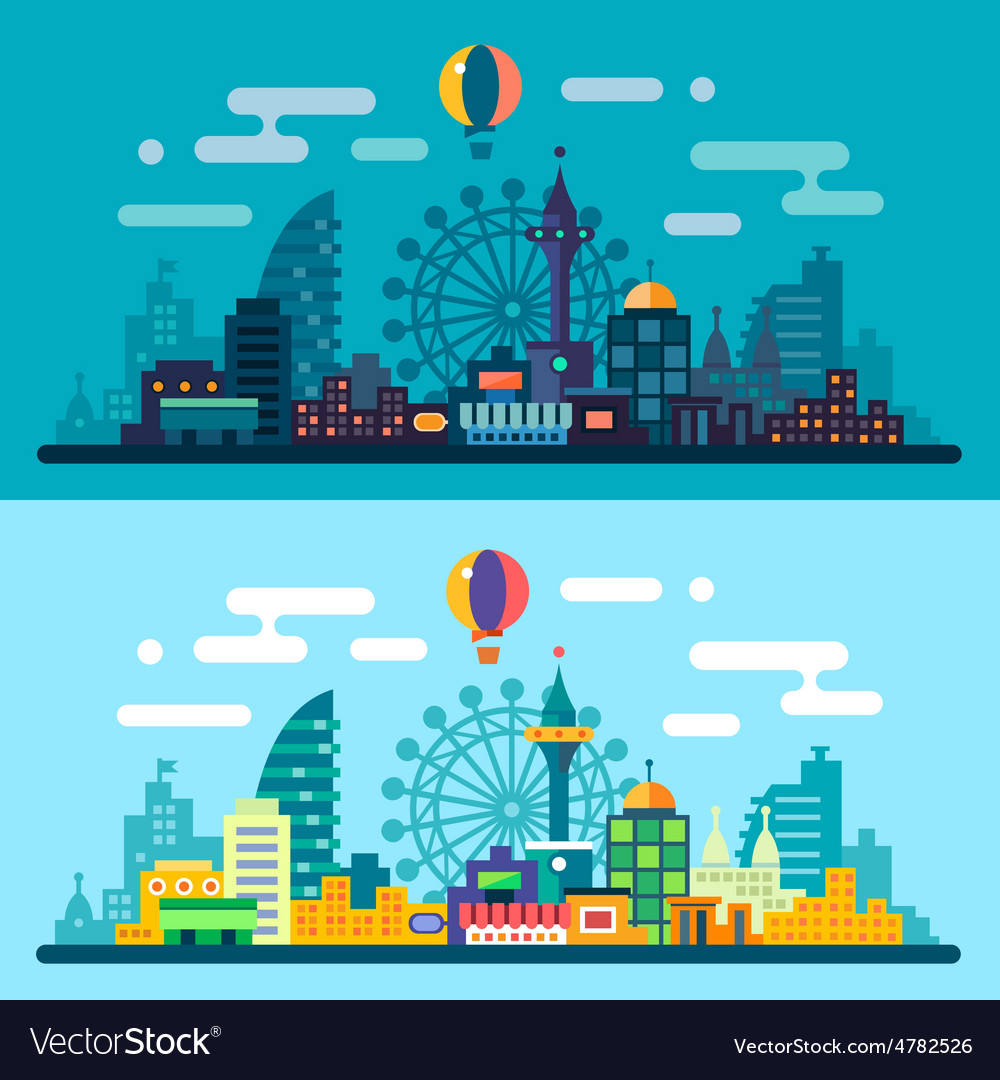 Night and day city landscape vector | Price: 3 Credit (USD $3)