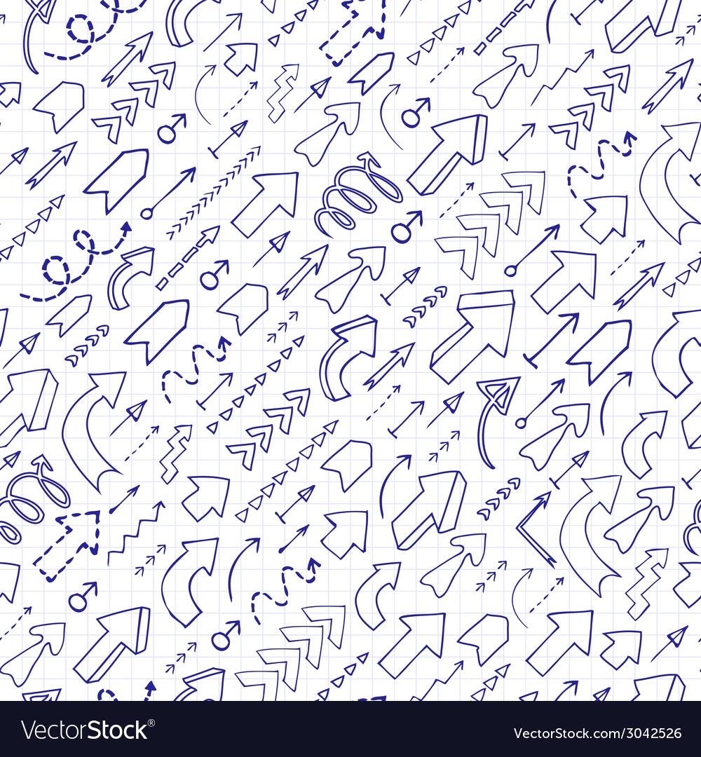 Seamless background of doodle arrows vector | Price: 1 Credit (USD $1)