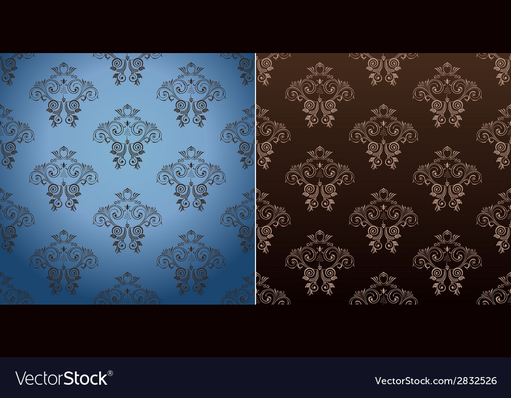 Seamless wallpaper set curves vintage background vector | Price: 1 Credit (USD $1)