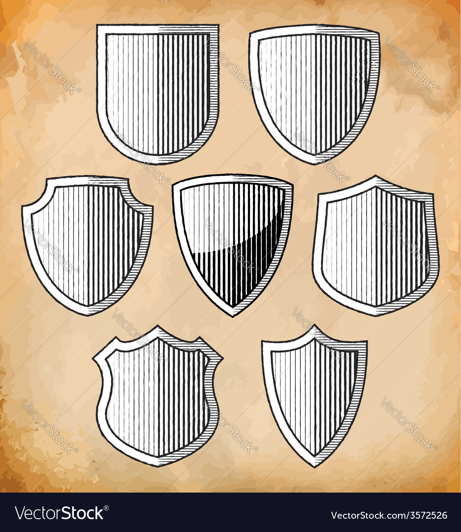 Set of heraldic shields vector | Price: 1 Credit (USD $1)