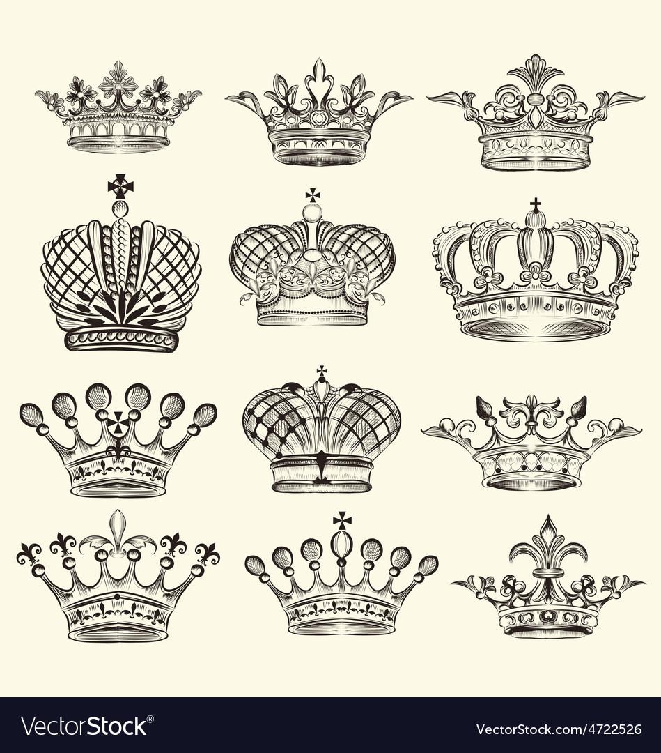 Set of vintage royal crown vector | Price: 1 Credit (USD $1)