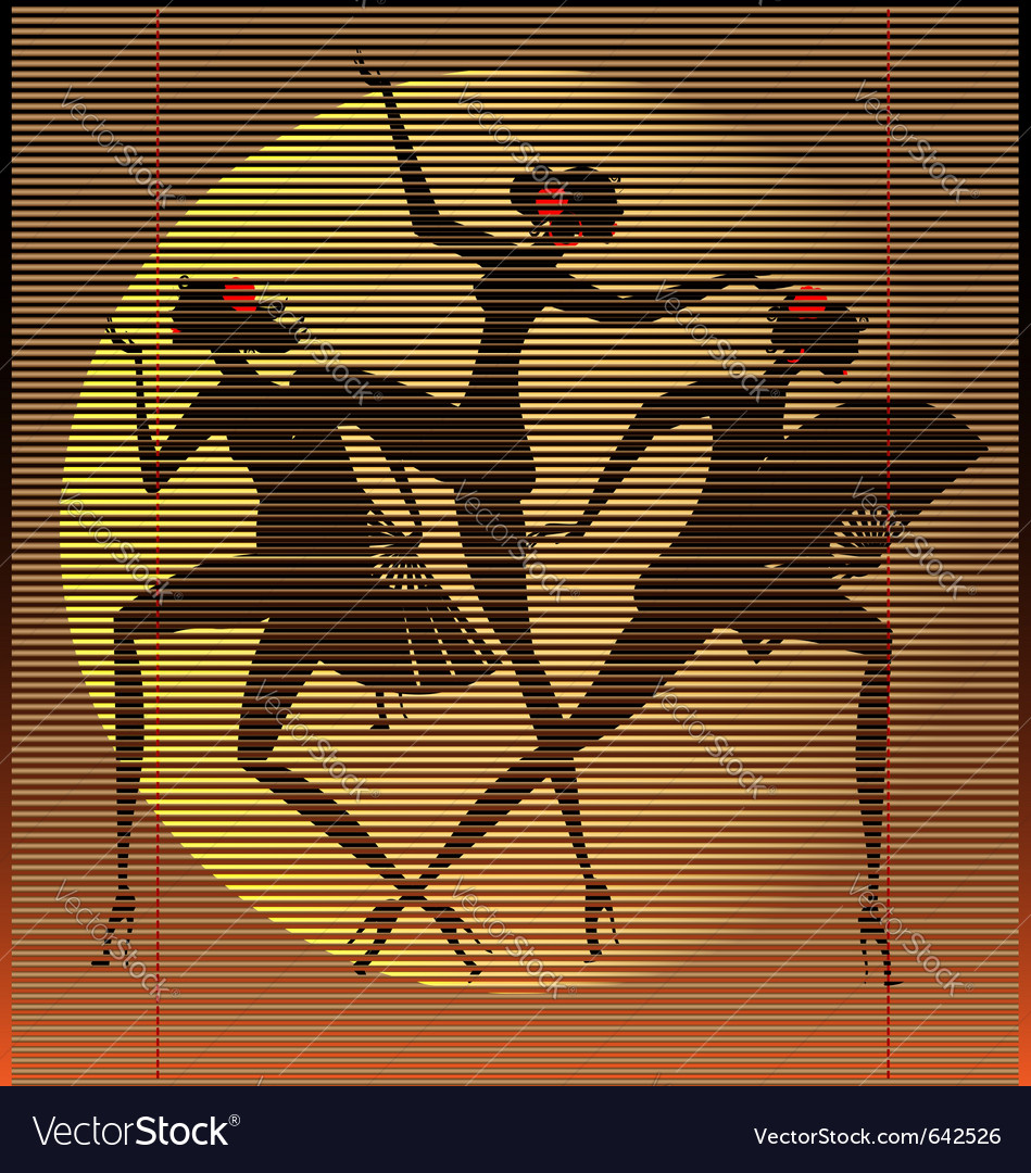 Straw mat three women vector | Price: 1 Credit (USD $1)