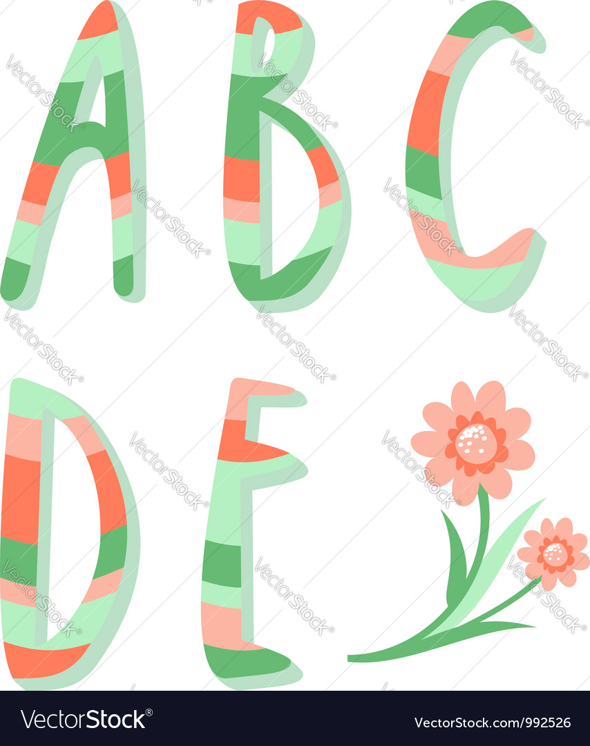 Striped letters vector | Price: 1 Credit (USD $1)