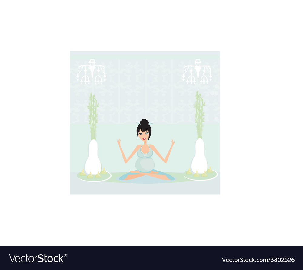 Yoga for pregnant woman vector | Price: 1 Credit (USD $1)