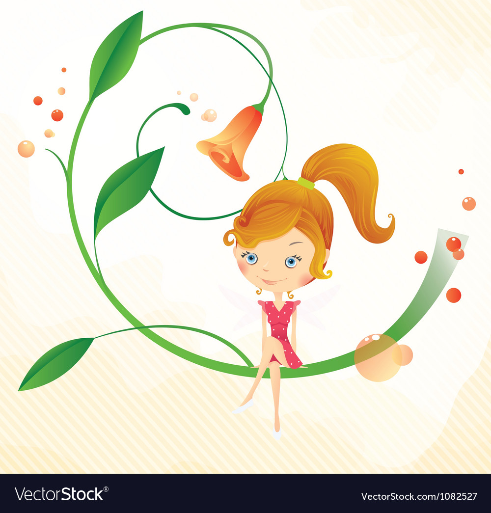 Fairy on the flower vector | Price: 3 Credit (USD $3)