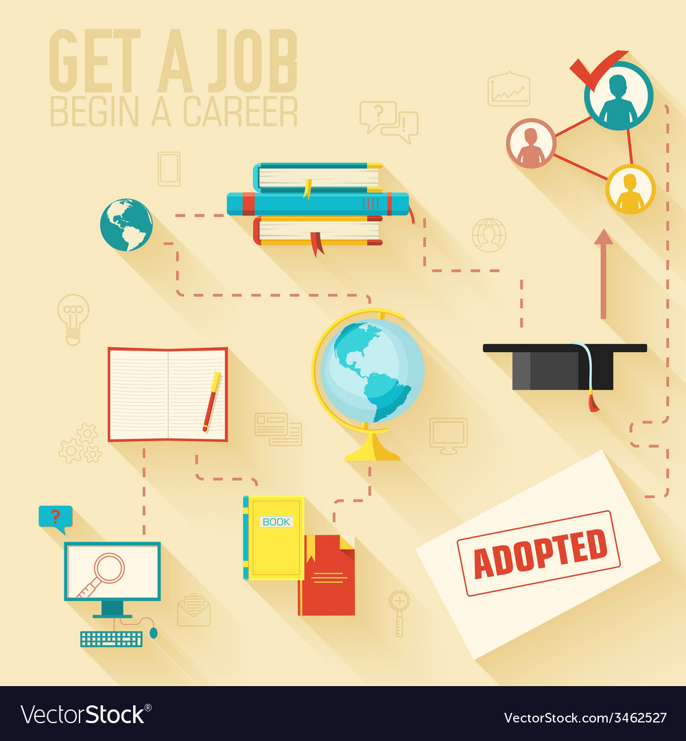 Get a job for begin a career infographic vector | Price: 1 Credit (USD $1)