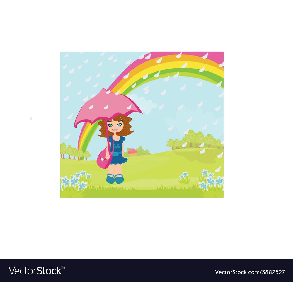 Girl walking in the rain vector   Price: 1 Credit (USD $1)