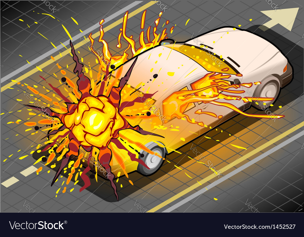 Isometric white car in explosion in rear view vector | Price: 1 Credit (USD $1)