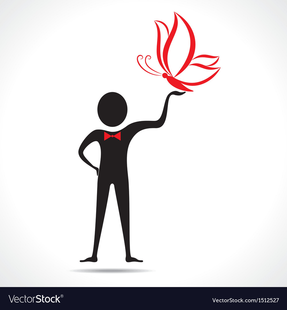 Man holding a butterfly icon vector | Price: 1 Credit (USD $1)