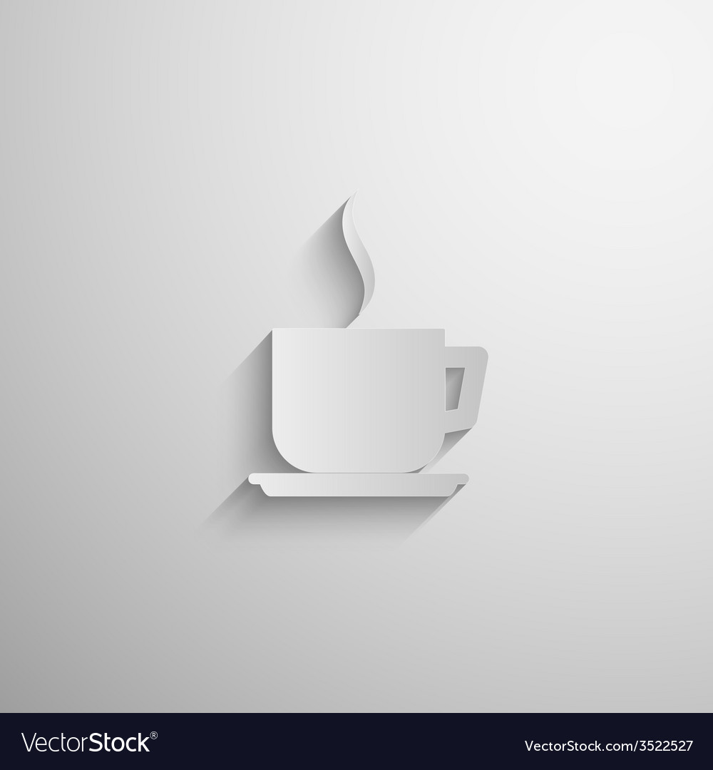 Paper 3d coffee or tea cup icon with long shadow vector | Price: 1 Credit (USD $1)