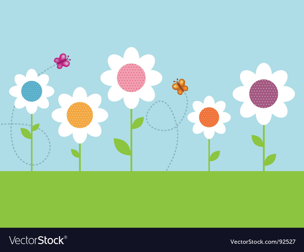 Polka dot daisies vector | Price: 1 Credit (USD $1)