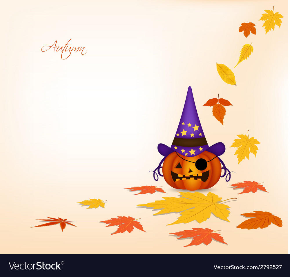 Pumpkin and autumn background vector | Price: 1 Credit (USD $1)